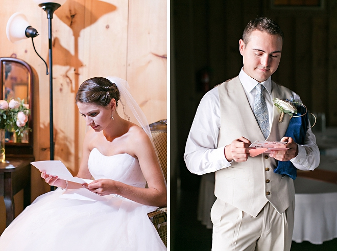 The new Mr. and Mrs. reading letters to each other before the ceremony!