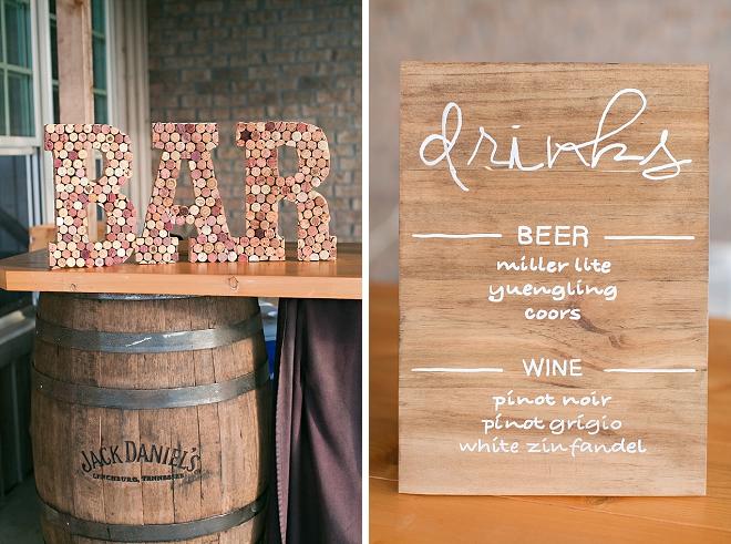 Check out this darling Bar sign and drink menu at this wedding! LOVE!