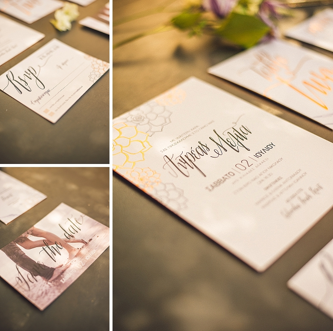 We're loving this copper metallic invitation suite at this styled wedding!