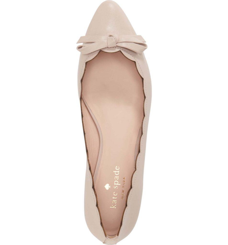 The perfect pink wedding flat: Kate Spade Eleni pointy toe ballet flats.