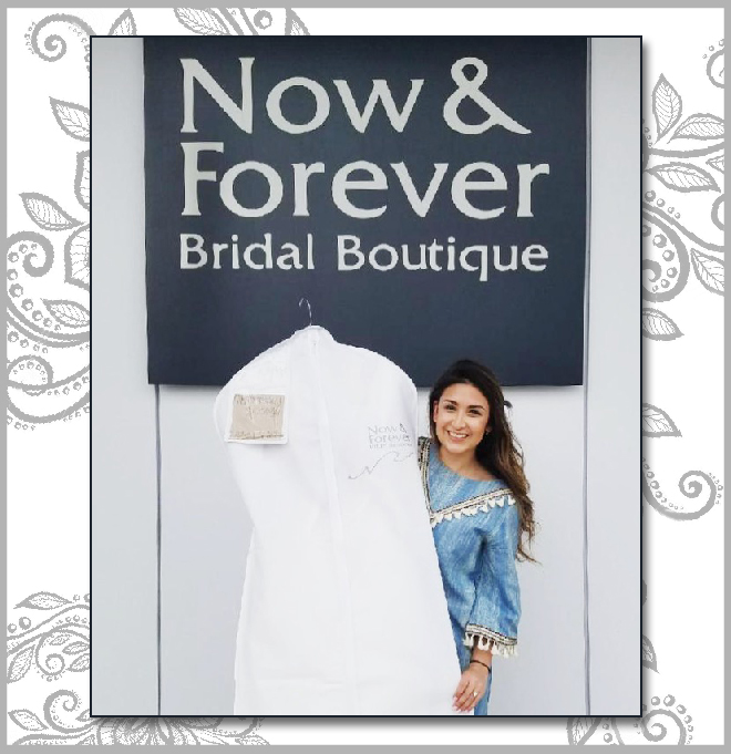 Brittany, our bridal blogger, with her wedding dress from Now & Forever Bridal Boutique!
