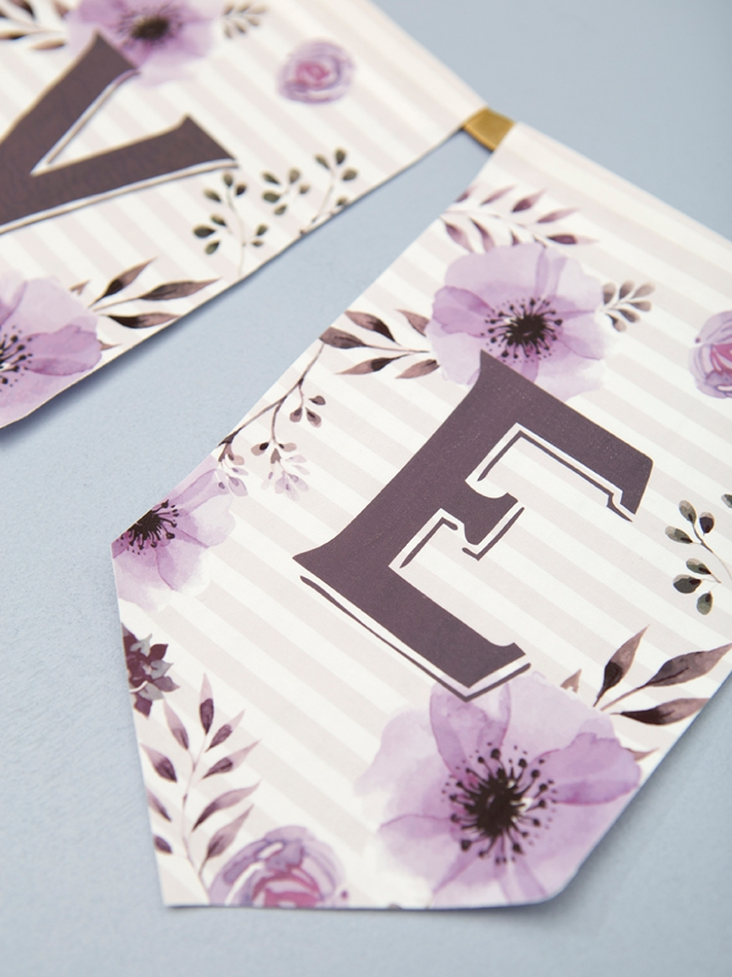 Free floral alphabet banner letters plus awesome iron-on fabric idea!