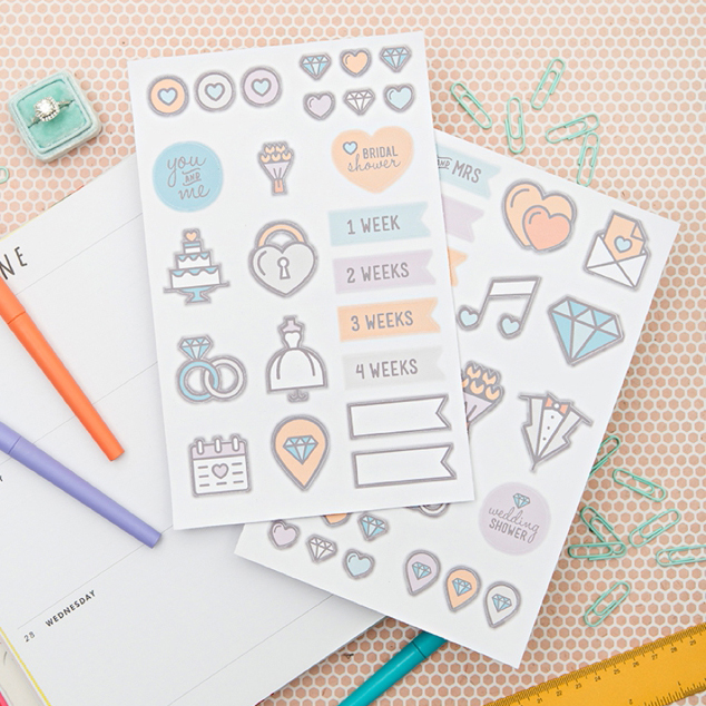 Check Out These Cute Print Cut Wedding Planning Stickers