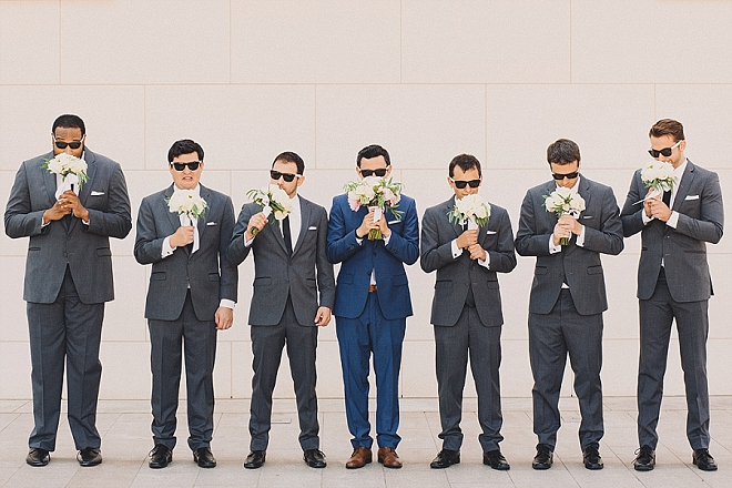 Such a fun shot of the Groom + Groomsmen before the ceremony!
