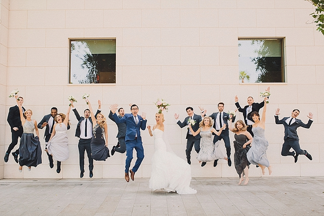 Loving this fun wedding party snap after the ceremony!