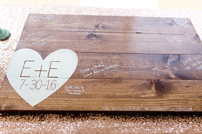 Such a darling customized wood plank guest book!