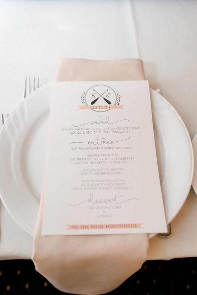 Darling printed menu at this stunning lakeside wedding reception!