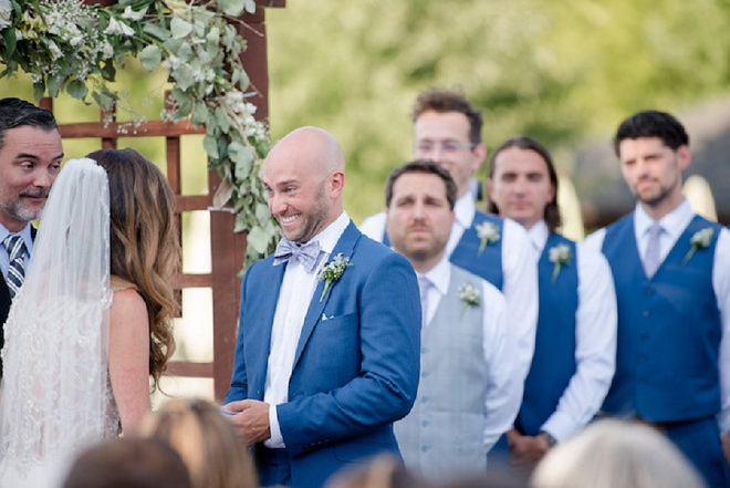 How amazing is this Groom's reaction?! We're in LOVE with this couple and their lakeside ceremony!