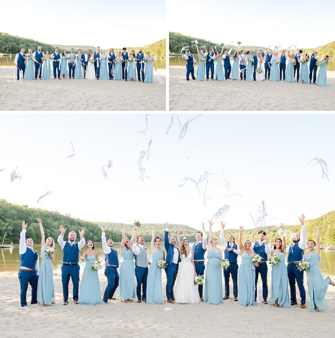 Such a fun shot of the Mr. and Mrs. and their bridal party!