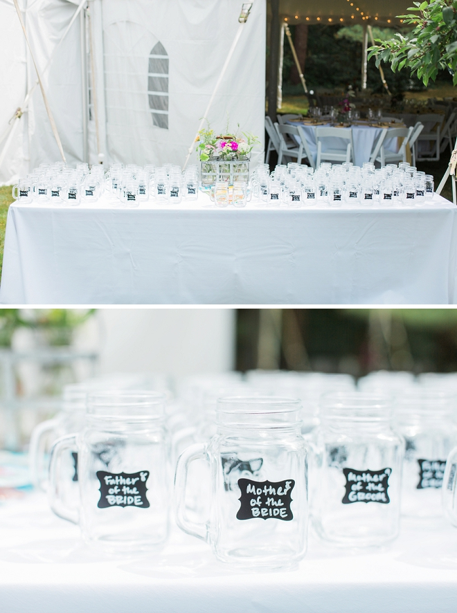 Super cute mason jars as wedding favors AND a seating chart!