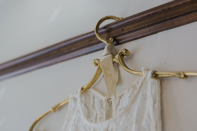 How dreamy is this Bride's wedding dress hanger?! LOVE!