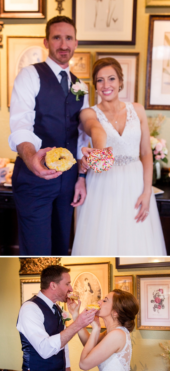 Cutting the donut as Mr. and Mrs! Too cute!