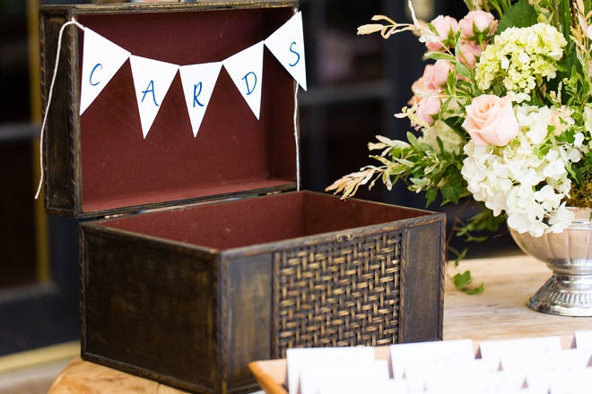 SO many daring details at this reception - like this cute card box!