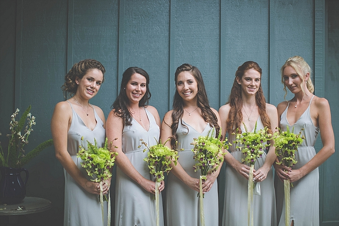 We're loving this Bride and her Bridesmaid's stunning wedding day style and homemade bouquets!