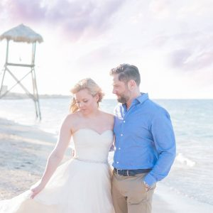 Gorgeous shot of a beachy bride and groom by Amy Sue Brant