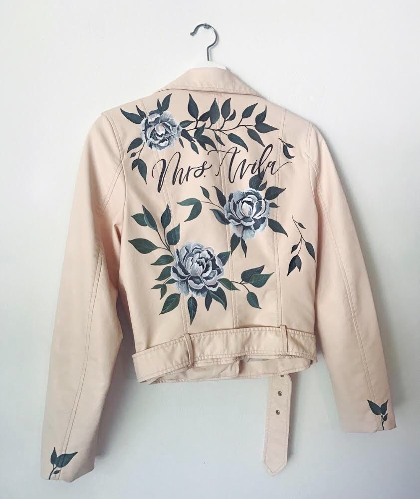 Gorgeous custom handlettered and painted wedding jacket by Bash Calligraphy!