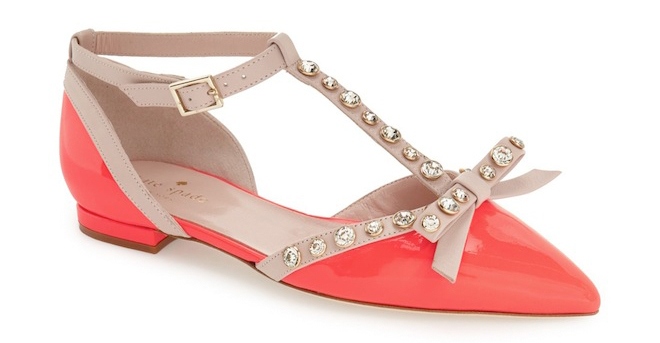 Coral Pink flats with a little bling.