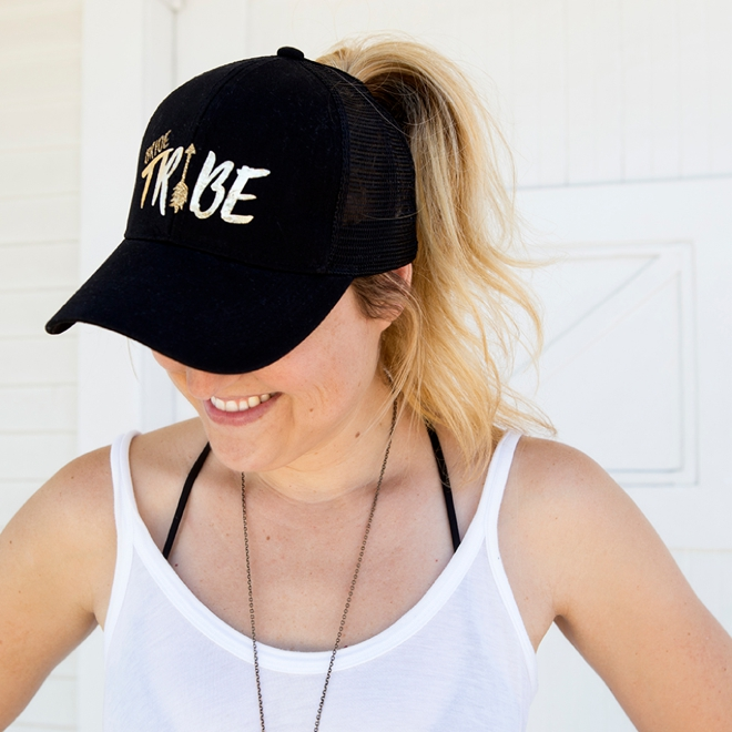 These easy DIY iron-on Bride Tribe ponytail trucker hats are the best thing ever!