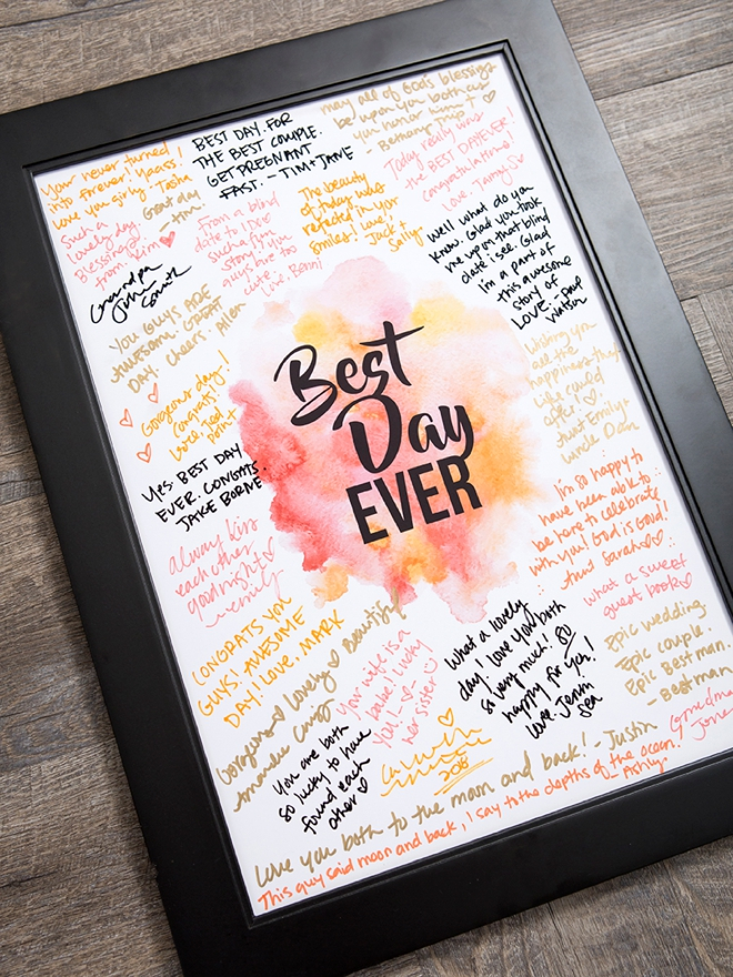 You can print this Best Day Ever guestbook sign for free!