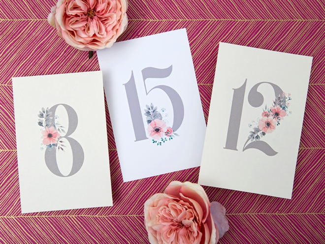 photograph relating to Printable Table Number known as Print People Darling Floral Desk Quantities For Your Wedding ceremony