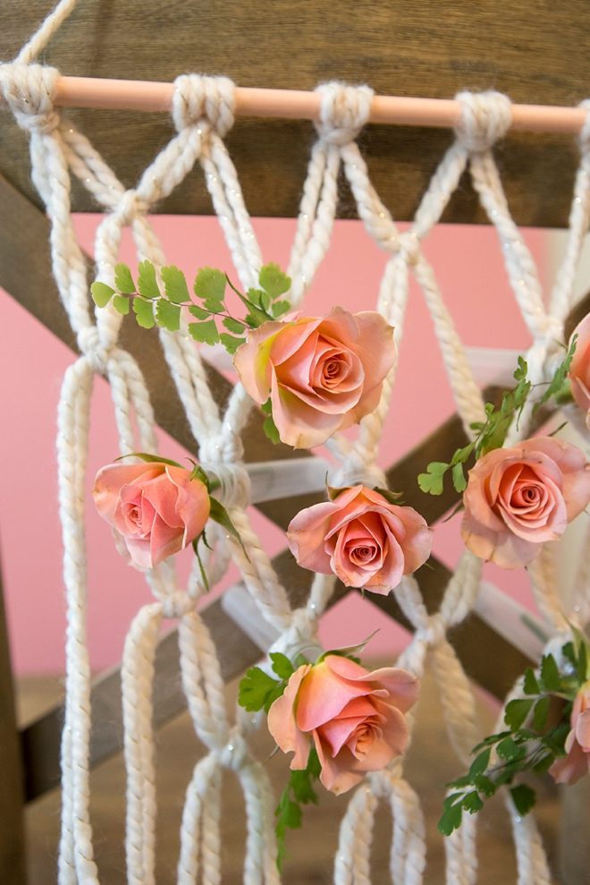 We're obsessing over these DIY yarn macramé wedding reception chairs!