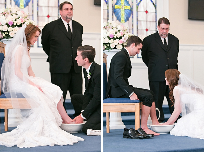 We're in love with this couple's super sweet ceremony with foot washing ceremony!