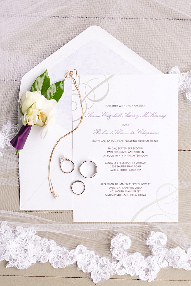 Gorgeous invitation suite and handmade veil by the Bride!