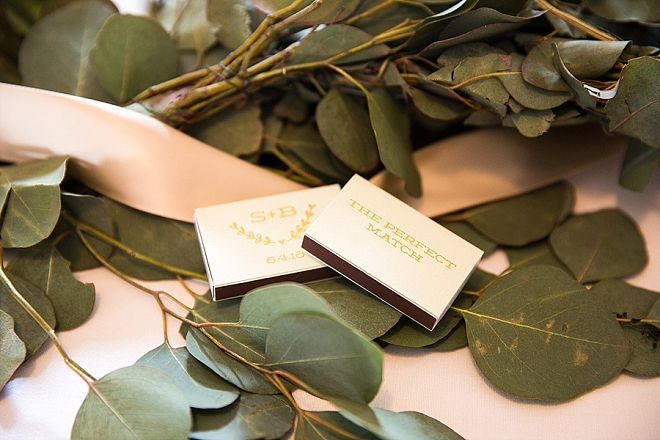 This couple gave out custom matchbooks as their wedding favors - too cute!