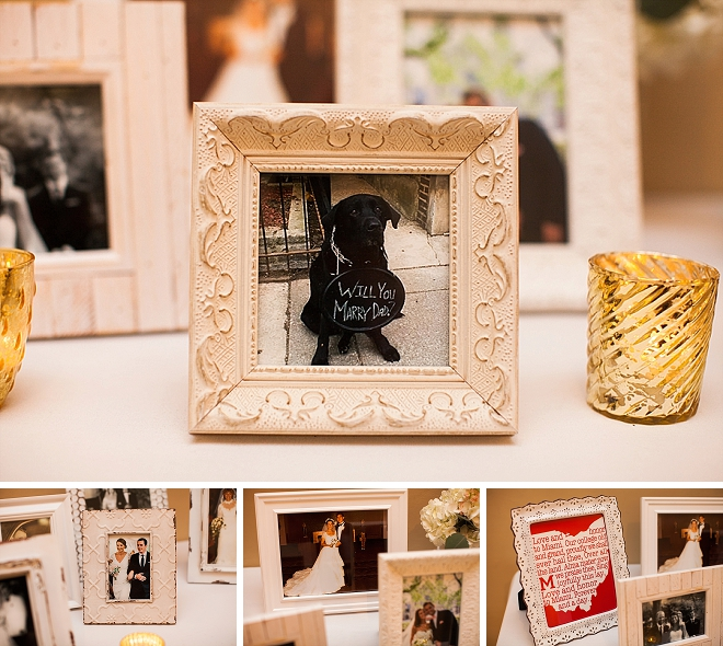 We love how this sweet couple displayed family wedding photos at their reception!