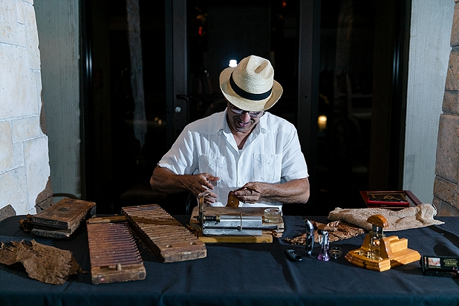 Such a fun idea to have a cigar bar at your reception!