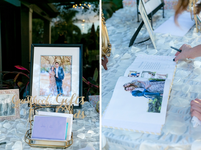 Super cute and personalized touch at your reception with engagement photos!