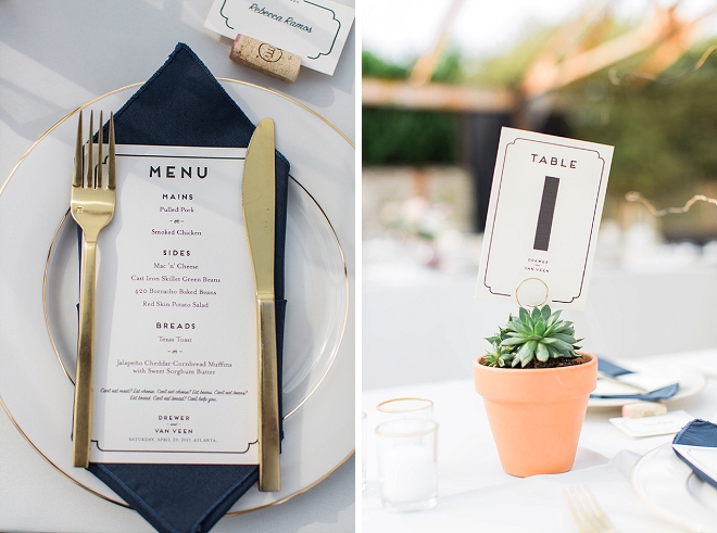 We're loving the modern succulent table numbers at this gorgeous reception!