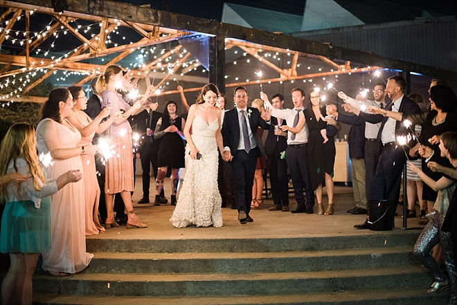 Loving this couple's super sweet sparkler exit!