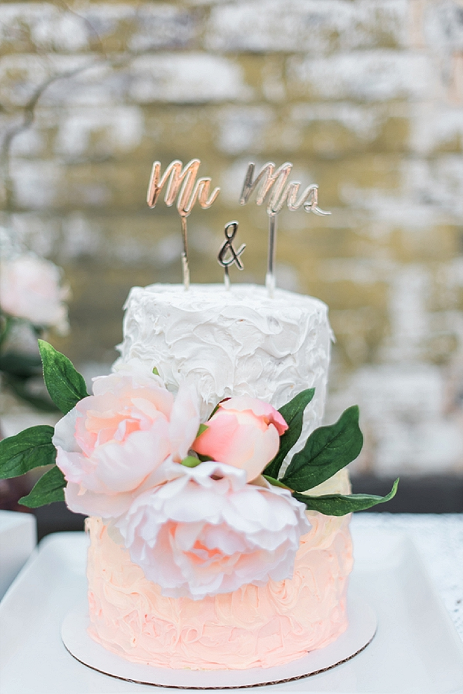 Check out this super cute cut cake and gold cake topper!
