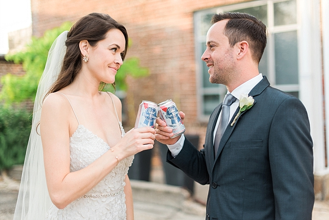 We can't get over how cute this Mr. and Mrs. and their beer cheers is!