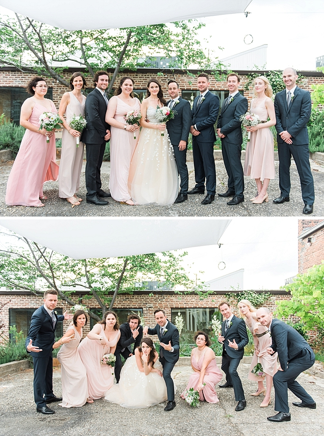 Loving these fun snaps of the bride and groom with their wedding party after the ceremony!