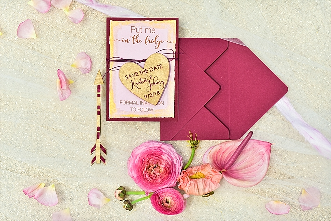 Check out these amazing pink and wooden customized invitations?! LOVE!