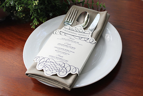 Cool wedding menu idea: wedding napkin menu.  The best part? It's 100% FREE!