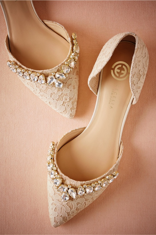 Lace wedding flats with a little bling. Pure perfection with any wedding dress.