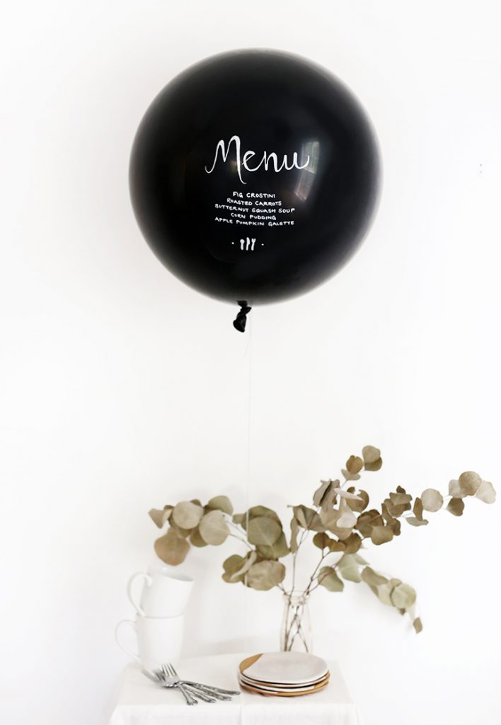 This is such a unique idea! Menu written on a balloon at your party or wedding.