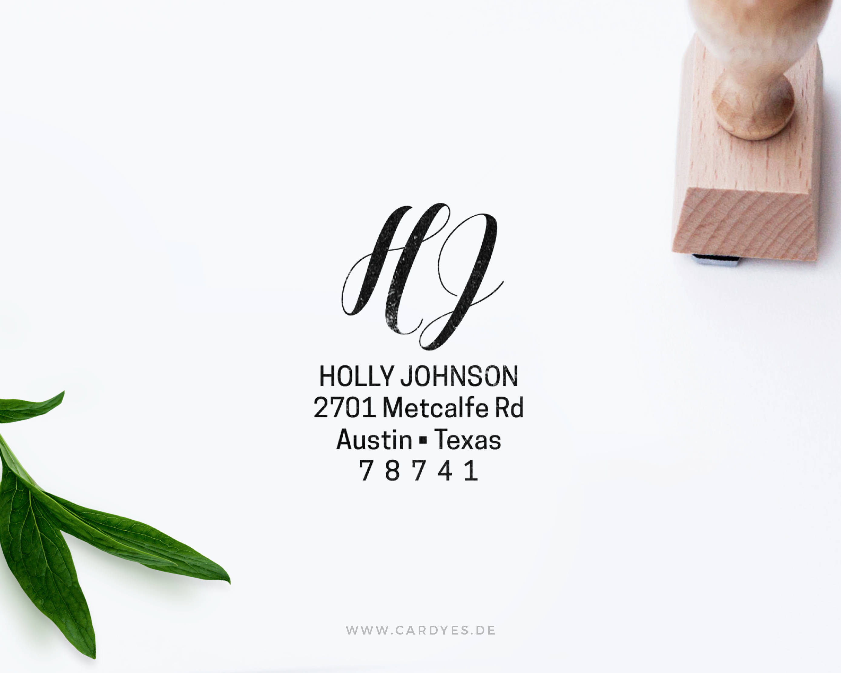 Custom return address stamp from Card Yes Shop
