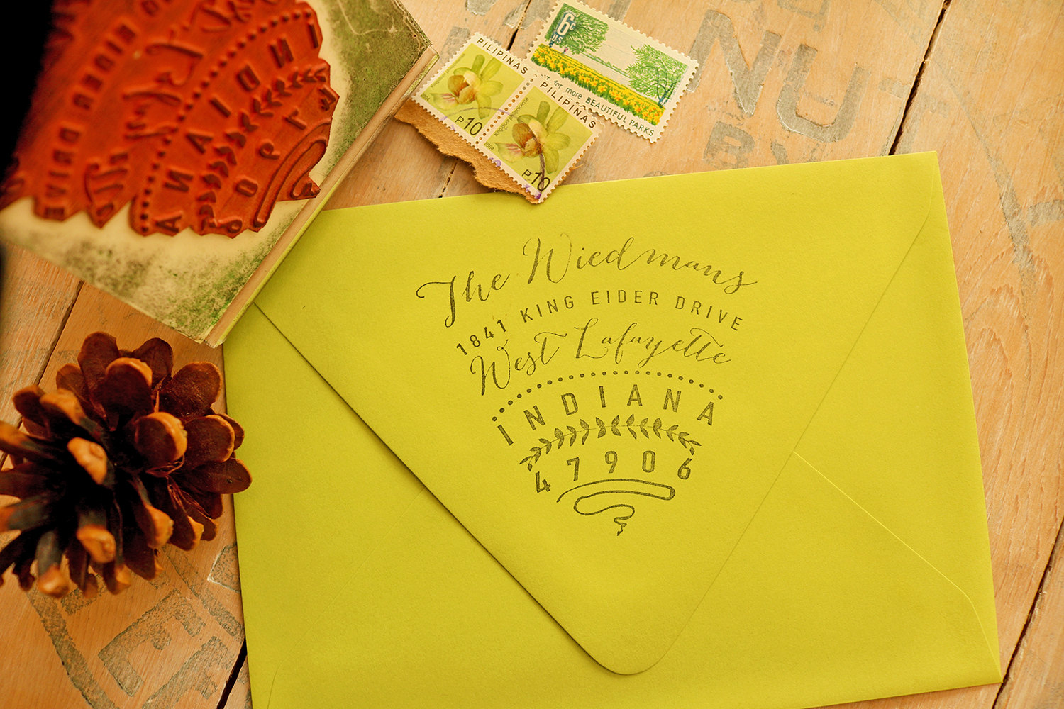 Custom return address stamp from Paper Peach Shop