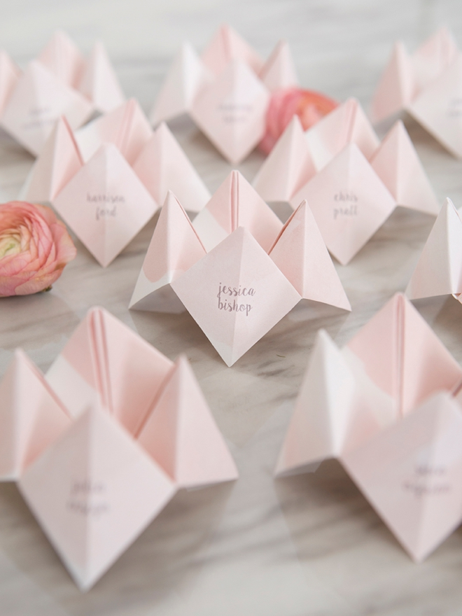 DIY cootie catcher seating cards for the win!