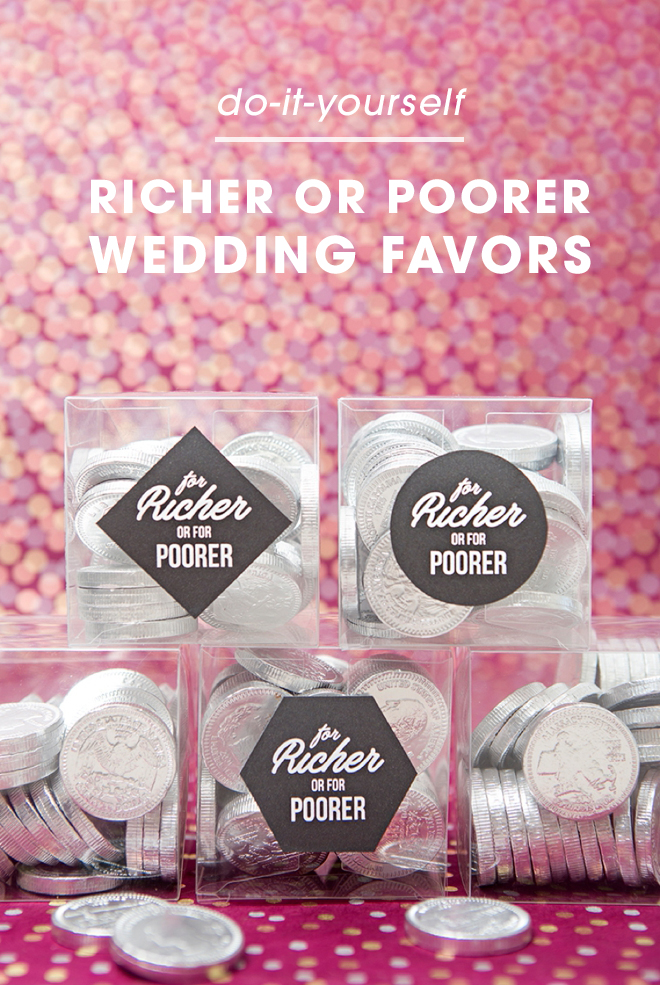 How adorable are these DIY for richer or for poorer chocolate coin wedding favors!?