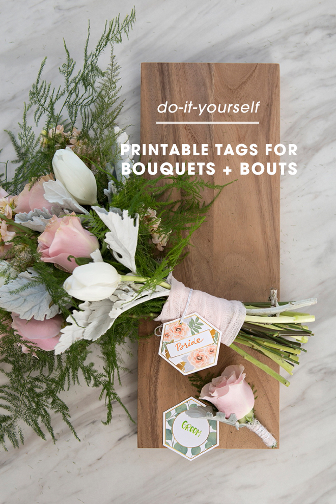 You can print these darling bouquet and boutonniere tags for free!