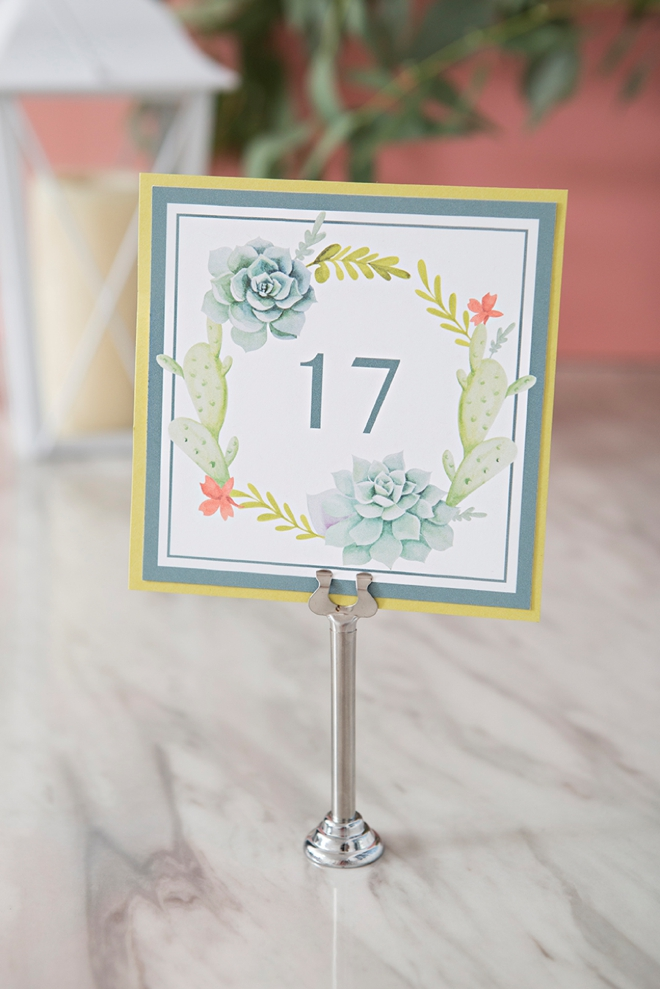 Free printable cactus and succulent wedding table numbers!