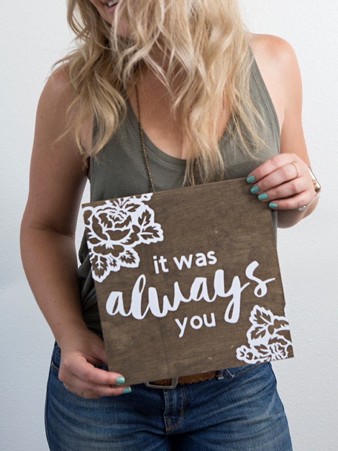 Check out this darling DIY It was always you wedding sign!