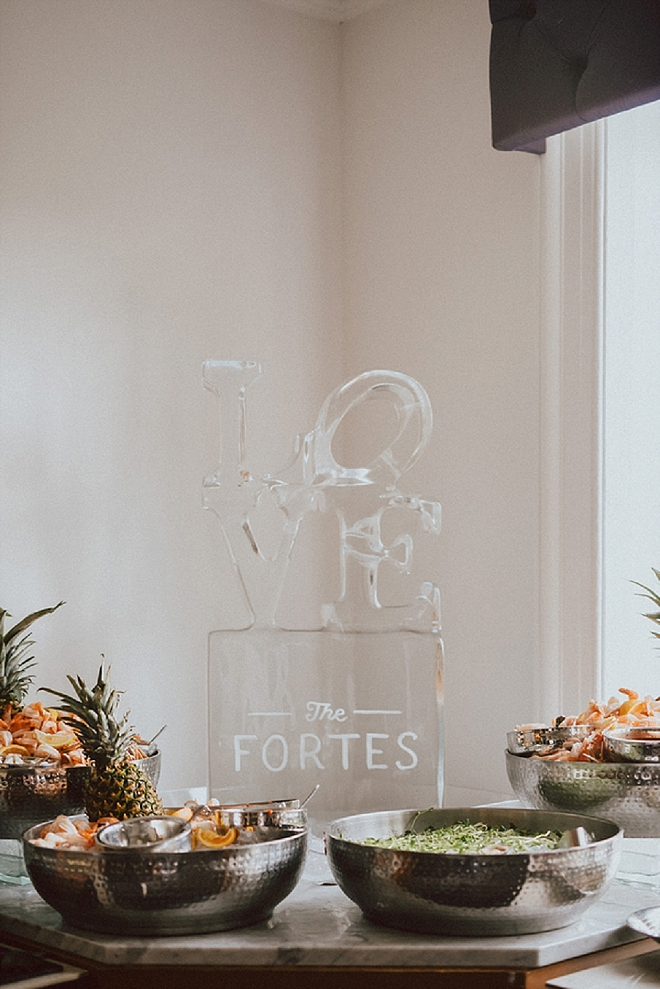 Check out this couple's LOVE ice sculpture!