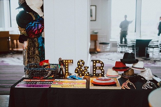 Super cute hipstr photo booth at this couple's glam reception!