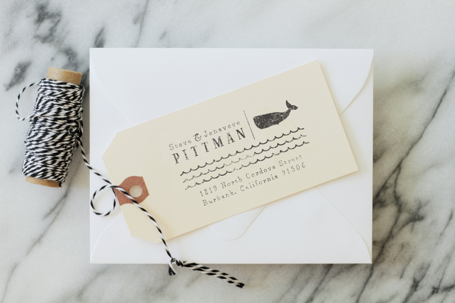Custom return address stamp from Substation Paperie